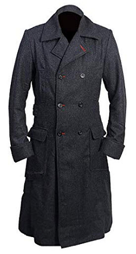 Fashionistz Men's Sherlock Grey Wool Detective Style Long Trench Coat