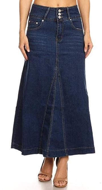 Fashion2Love Womens Juniors High Rise A-Line Long Jeans Maxi Flared Denim Skirt m blue