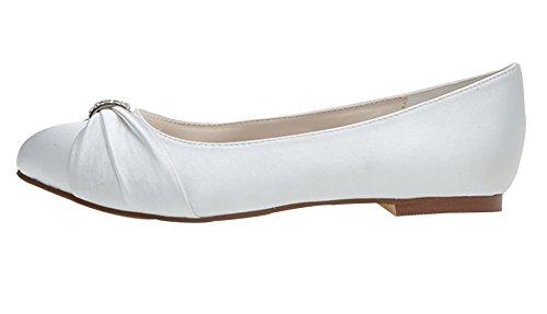 Fashionmore Women's Beaded Round Toe Satin Flats