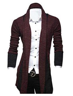 FashionRun Mens Classic Fashion Marled Open-Front Shawl Collar Cardigan
