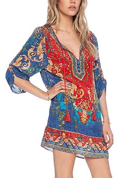Fasker Women's Bohemian Casual Dress Loose Printed Tunic Vintage Printed Summer Dress patt ...