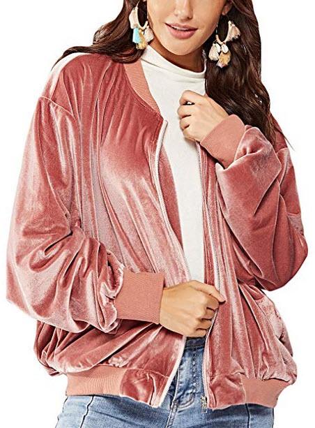 Fasumava Womens Velour Jackets Spring Autumn Casual Batwing Sleeve Zipper Coats pink