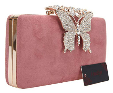 Fawziya Butterfly Clutch Crystal Velvet Clutches & Evening Bags, pink