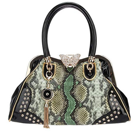 Fawziya Butterfly Snake Pattern Tassel Crystal Leather Purses And Handbags, green