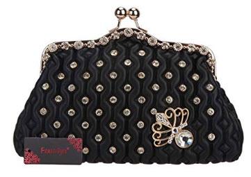 Fawziya Kiss Lock Crystal Butterfly Purses And Handbags For Women Mini Bag, black
