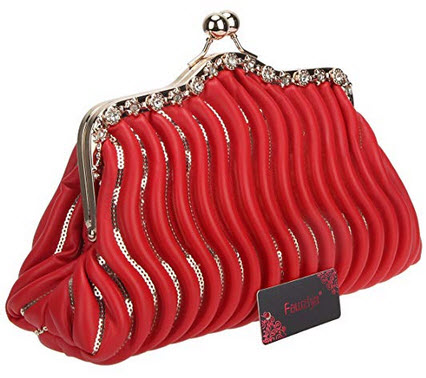 Fawziya Kiss Lock Sequins Crystal Purses And Handbags For Women Bags Pu Bag