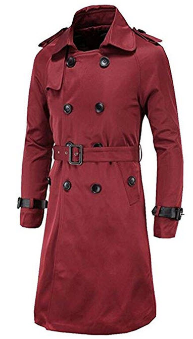 FCYOSO Men's Trench Coat Double Breasted Overcoat Jacket with Waist Belt  wine red