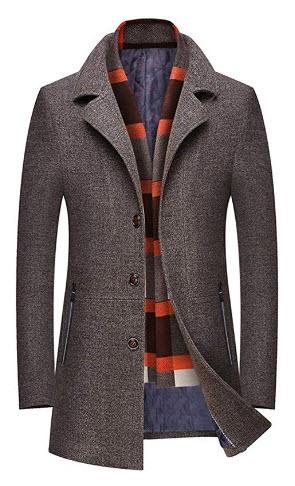 FengYugou Mens Wool Trench Coat Business Long Thicken Slim Overcoat Winter Warm Windbreaker