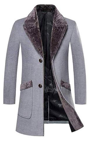 FengYugou Overcoat Male Wool Blend Mid Long Winter Coat with Fur Collar Coat Men Winter Trench W ...