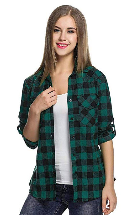 Fenido Women's Plaid Flannel Shirt, Roll Up Long Sleeve Collared Checkered Cotton Boyfrien ...