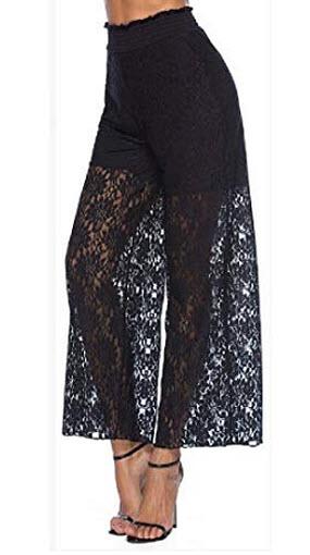 Fensajomon Women Fashion k Lace Trim See-Through High Rise Wide Leg Palazzo Lounge Pants, black