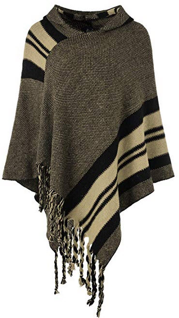 Ferand Women's Hooded Knit Striped Cape Poncho Sweater with Fringes khaki