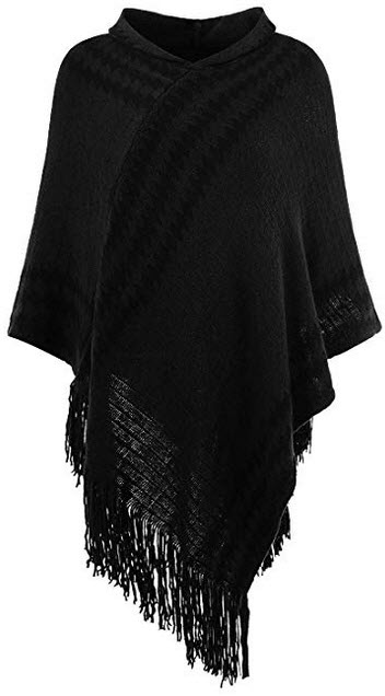 Ferand Women's Hooded Zigzag Striped Knit Cape Poncho Sweater with Fringes black