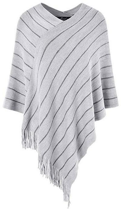 Ferand Womens Striped Poncho Sweater Cozy Warm Wrap Shawl in Multi-Way Neck Style light grey