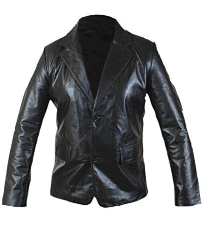 F&H Men's Genuine Leather Slim Fit 2 Button Blazer