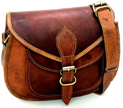 Firu-Handmade Women Vintage Style Genuine Brown Leather SADDLE Crossbody Shoulder Bag Handmade Purse