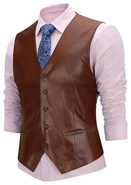 FISOUL Men's Suit Vest Faux Leather Slim Fit Casual Motorcycle Jacket Vests coffee