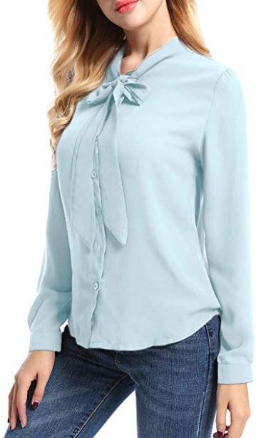 FISOUL Womens Casual Blouse Bow Tie Neck Long Sleeve Button Down Office Shirt Plain Chiffon Blou ...