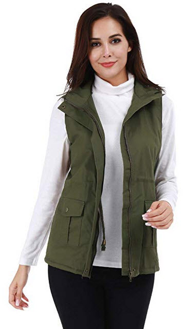 FISOUL Womens Lightweight Sleeveless Military Hooded Anorak Drawstring Jacket Vest with Fur Lini ...