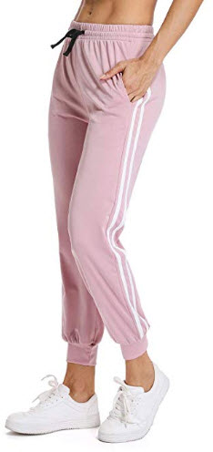 FITTOO Women's White Stripe Side Patchwork Panels Jogger Pants Ankle Elastic Running Sweat ...