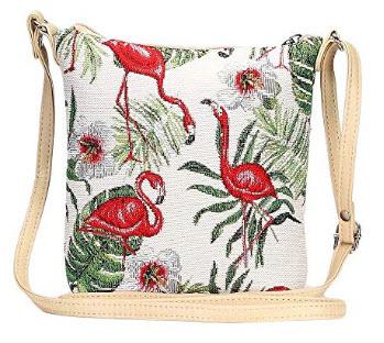 Flamingo Pink and Green Women's Tapestry Lightweight Top Zip Cross body Bag Sling Bag with Adjus ...