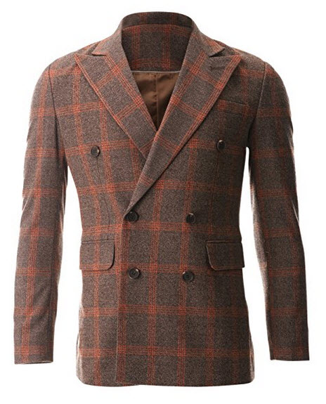 FLATSEVEN Mens Casual Orange Plaid Sport Coat Blazer Jacket.