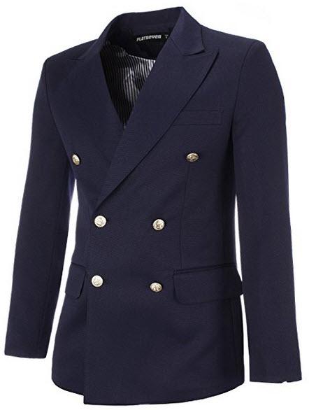 FLATSEVEN Mens Designer Double Breasted Peaked Lapel Blazer Jacket navy
