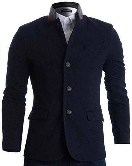 FLATSEVEN Mens Slim Casual Waffle Fabric Blazer Jacket navy