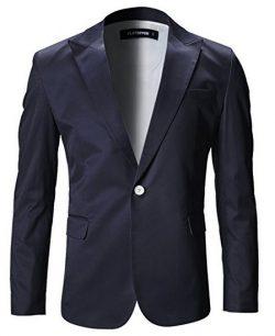 FLATSEVEN Mens Slim Fit Stylish Peaked Lapel Blazer Jacket navy