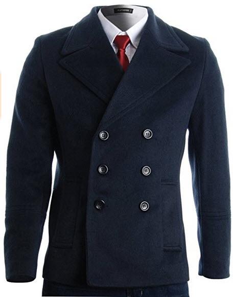 FLATSEVEN Mens Winter Double Breasted Pea Coat Short Jacket.
