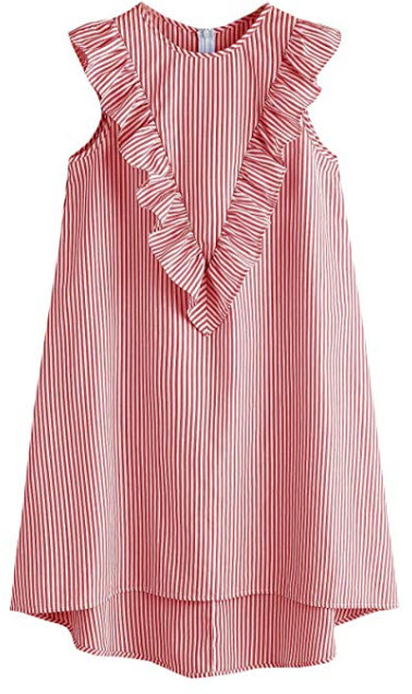 Floerns Women's Vertical Striped Ruffle Front Tunic Dress, red