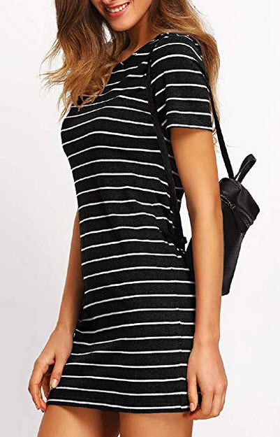 Floerns Womens Causal Short Sleeve Striped Tunic T-Shirt Dress black and white