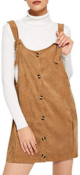 Floerns Women's Cute Strap Button up Corduroy Overall Sheath Pinafore Dress, brown – 1