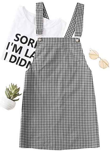 Floerns Women's Gingham Suspender Overall Pinafore Short Dress, black & white