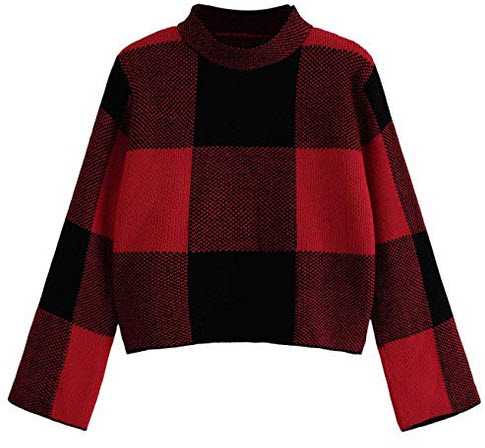 Floerns Women's Long Sleeve High Neck Plaid Crop Sweater Pullover red 2