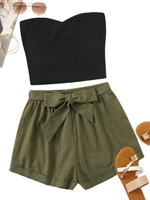 Floerns Women's 2 Piece Outfit Summer Plain Tube Crop Top with Shorts