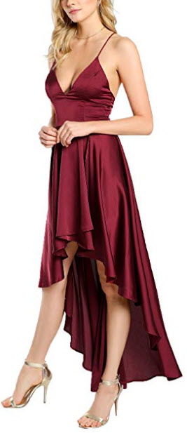 Floerns Women's Plunging Spaghetti Strap Backless High Low Maxi Cocktail Party Dress, burgundy