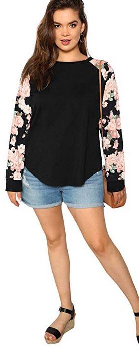Floerns Women's Plus Size Round Neck Floral Raglan Sleeve T-Shirt Blouse Top black
