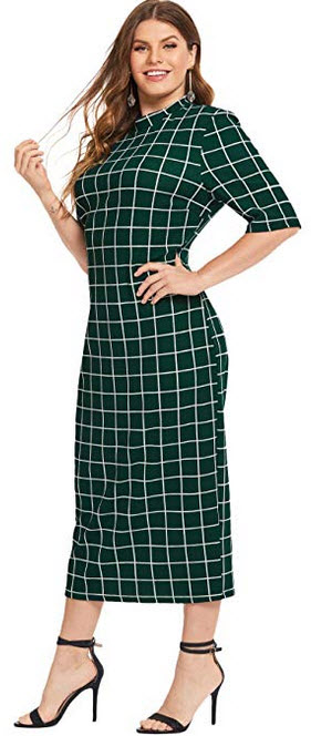 Floerns Women's Short Sleeve Plus Size Gingham Bodycon Business Pencil Dress green