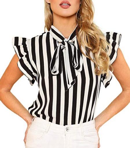 Floerns Women's Sleeveless Bow Tie Striped Summer Chiffon Blouse Top, black & white 1