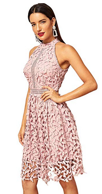 Floerns Women's Sleeveless Halter Neck Lace Cocktail Party A Line Dress pink