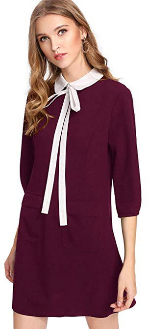 Floerns Women's Tie Neck Peter Pan Collar 3/4 Sleeve Shirt Dress Pockets red