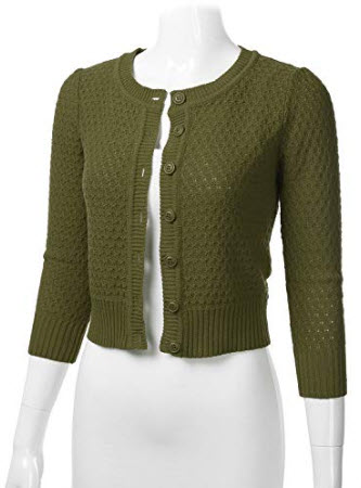 FLORIA Women's Button Down 3/4 Sleeve Crew Neck Cotton Knit Cropped Cardigan Sweater (S-3X ...