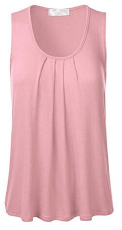 FLORIA Womens Round Neck Pleated Front Sleeveless Stretchy Blouse Tank Top, dusty pink