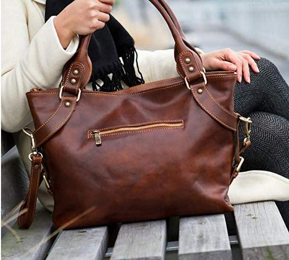 Floto Taormina Leather Bag, brown
