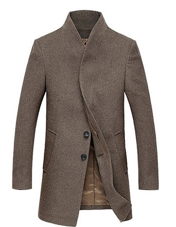 Fluorodine Men's Standard Collar Long Jacket Winter Trench Coat.