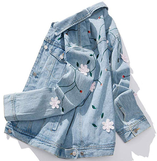 Flygo Women's Fashion Floral Embroidery Button Down Jean Jacket, light blue