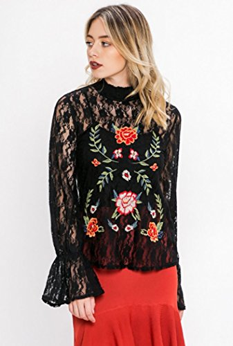 Flying Tomato Ruffles & Lace! Mandy + Ally's High Neck Peasant Top