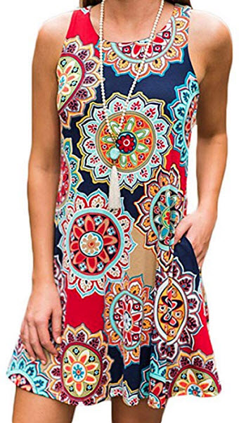 For G and PL Women Ethnic Printed Tank Tunic Dress, multicolor