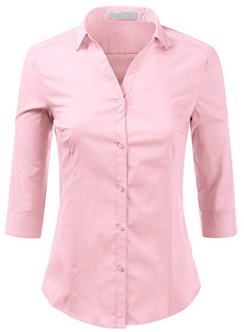 Foryous Women Button Down Shirt 3/4 Sleeve Blouses Slim Fit Plus Size, pink